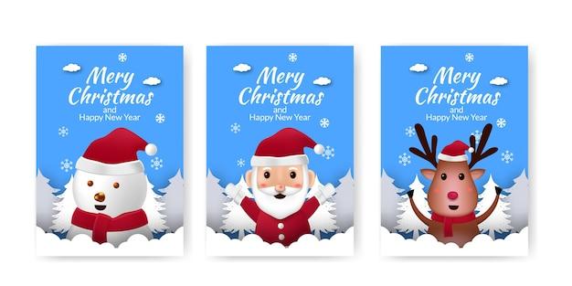 Zestaw plakat ogłoszenie wesołych świąt i szczęśliwego nowego roku z cute ilustracji niebieskim tle