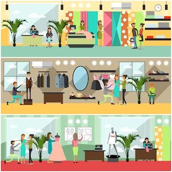 Zestaw plakatów atelier mody, banery w stylu płaski