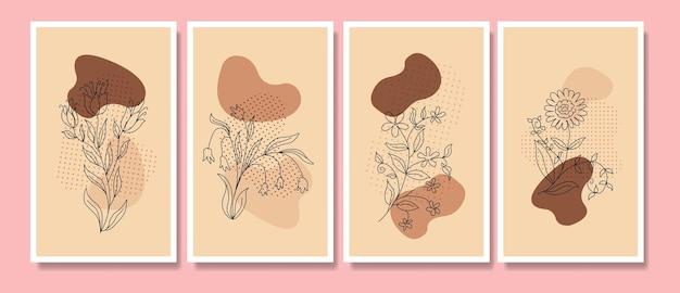 Zestaw plakatów boho w minimalistycznym stylu z tropikalnymi liśćmi z połowy wieku