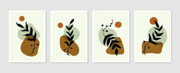 Zestaw plakatów botanicznych kolekcja plakatów ze sztuką współczesną minimalistyczne i naturalne obrazy na ścianę
