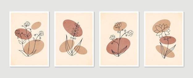 Zestaw plakatów botanicznych minimalistyczna i naturalna dekoracja ścienna boho