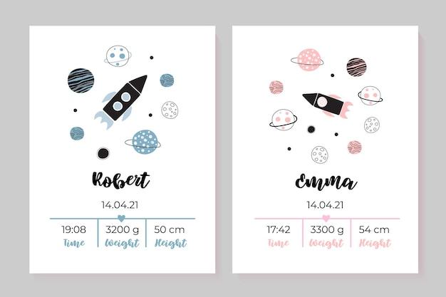 Zestaw plakatów dla dzieci wzrost waga data urodzenia