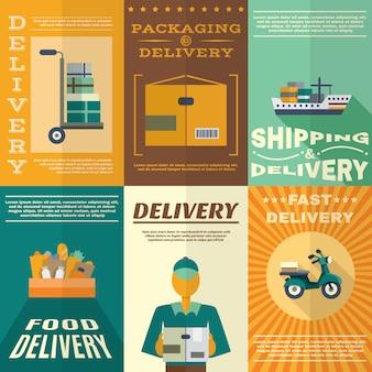 Zestaw plakatów dostawy