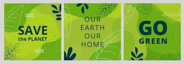 Zestaw plakatów dzień ziemi z zielonymi kształtami liści i układami elementów.