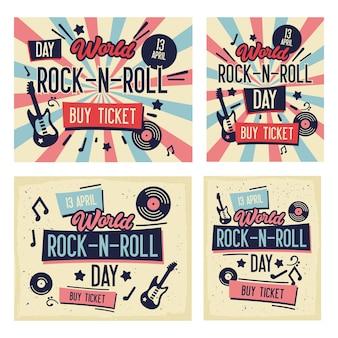 Zestaw plakatów festiwalu rockowego. światowy dzień rock-n-roll'a