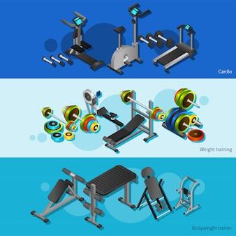 Zestaw plakatów fitness sprzęt