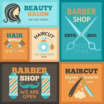 Zestaw plakatów fryzjerskich