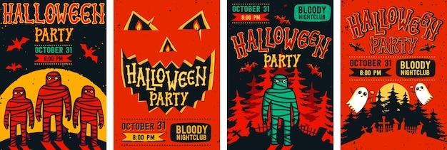 Zestaw plakatów halloween.