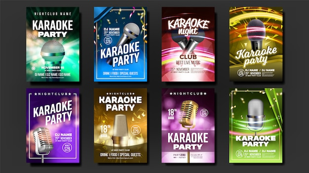 Zestaw plakatów karaoke