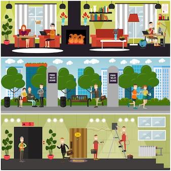 Zestaw plakatów koncepcji internetu, banery