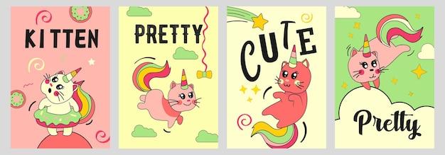 Zestaw plakatów kot jednorożca. kociak śmieszne kreskówki z rogami tęczy i ogonem na chmurach ilustracje