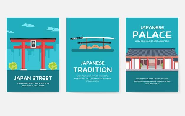 Zestaw plakatów kraju japonii na szarym tle