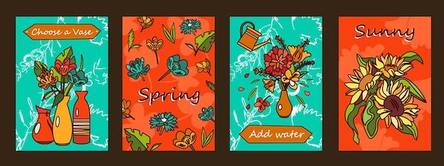 Zestaw plakatów kwiaty. bukiety w wazonach, ilustracje kwiatów z tekstem na pomarańczowym i zielonym tle.