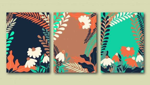 Zestaw plakatów letnich z płaskimi kwiatami rumianku, roślinami łąkowymi i liśćmi.