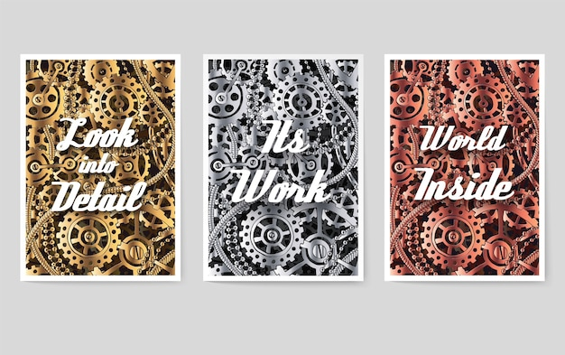 Zestaw plakatów mechanicznych z tekstem motywacyjnym typograficznym