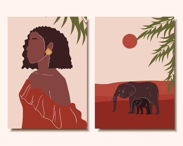 Zestaw plakatów. minimalizm. śliczna kobieta. krajobraz i słonie.