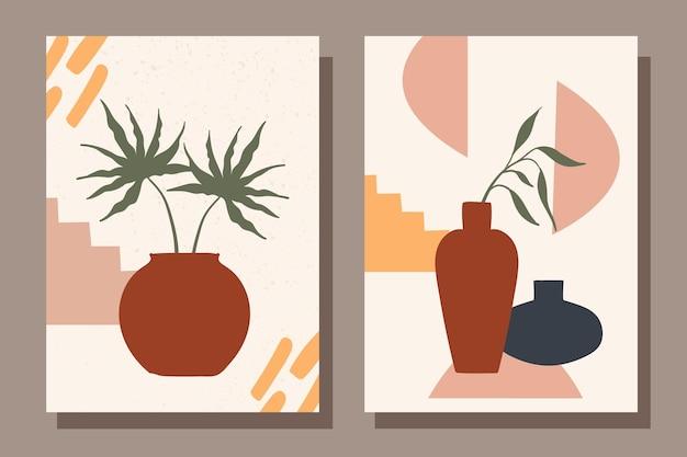 Zestaw plakatów modowych z martwymi naturami wazon z roślinami