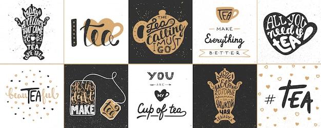 Zestaw plakatów napis herbaty wektor
