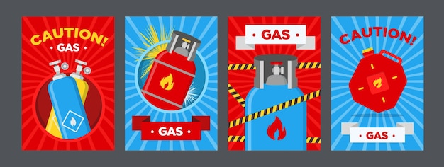 Zestaw plakatów ostrzegawczych stacji benzynowej. kanistry i balony z łatwopalnymi znakami wektorowymi na czerwonym lub niebieskim tle. szablony banerów stacji benzynowych i znaków ostrzegawczych