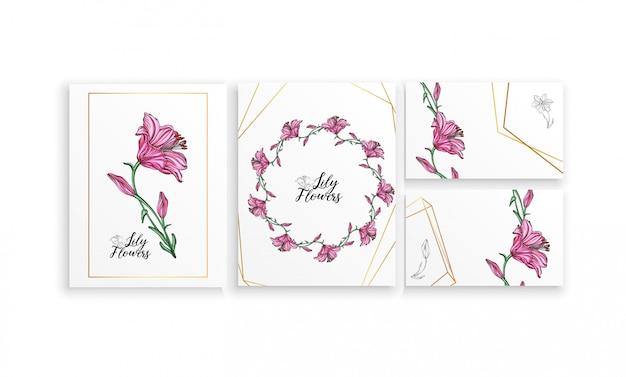 Zestaw plakatów pocztówek z kwiatami lily