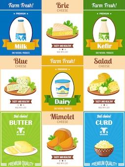 Zestaw plakatów produktów mlecznych