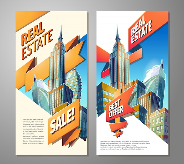 Zestaw plakatów reklamowych na sprzedaż nieruchomości.