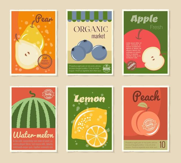 Zestaw plakatów retro owoców