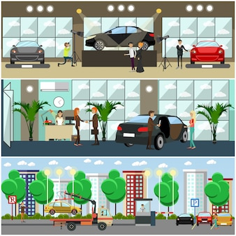 Zestaw plakatów samochodowych, banery w stylu płaski