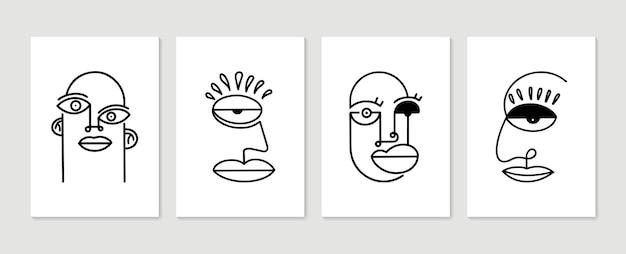 Zestaw plakatów streszczenie portret. minimalistyczna grafika ścienna.