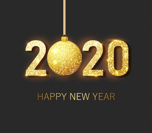 Zestaw plakatów świątecznych i noworocznych ze wiszącymi złotymi i srebrnymi bombkami 3d oraz cyframi 2020.
