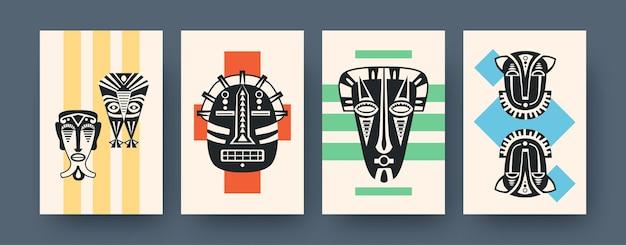 Zestaw plakatów sztuki współczesnej z rytualnymi maskami. ilustracja wektorowa. kolekcja afrykańskich masek plemiennych