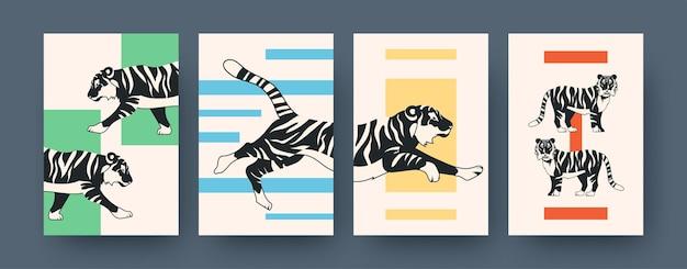 Zestaw plakatów sztuki współczesnej z tygrysem. ilustracja wektorowa. kolekcja biegającego, siedzącego, leżącego tygrysa w płaskiej konstrukcji
