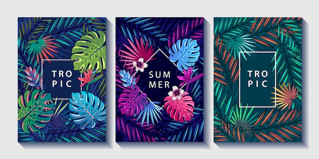 Zestaw plakatów tropikalnych liści i kwiatów.