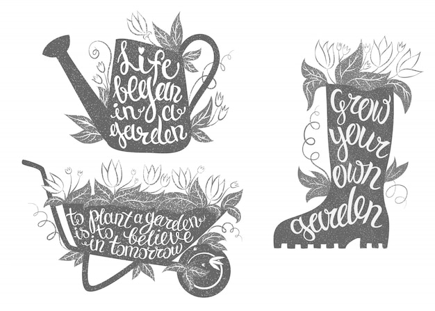 Zestaw plakatów typografii ogrodnictwa. kolekcja plakatów ogrodniczych z inspirującymi cytatami.