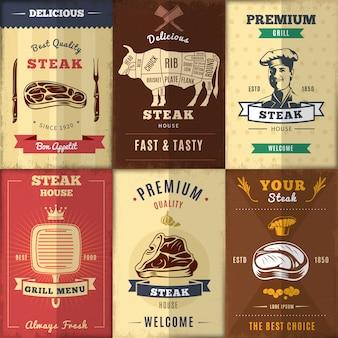 Zestaw plakatów vintage steak house