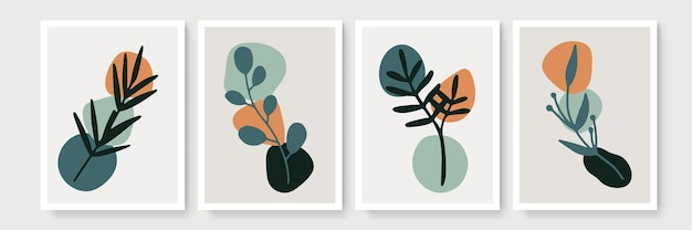 Zestaw plakatów w minimalistycznym stylu boho z tropikalnym liściem. nowoczesne abstrakcyjne dekoracje ścienne z rysunkiem linii liści