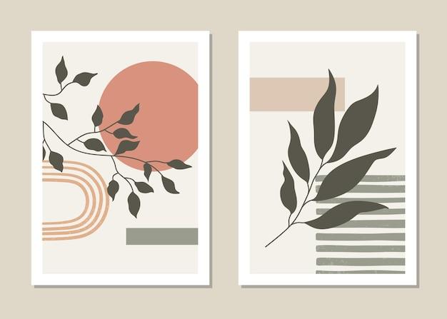 Zestaw plakatów w minimalistycznym stylu z tropikalnym liściem