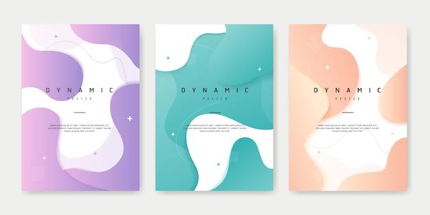 Zestaw plakatów w stylu dynamic creative fluid.