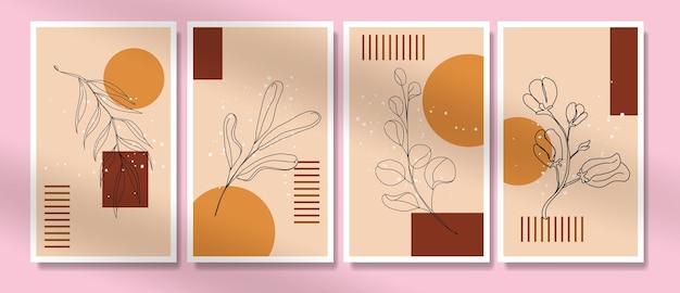 Zestaw plakatów w stylu minimalistycznym z tropikalnymi liśćmi z połowy wieku
