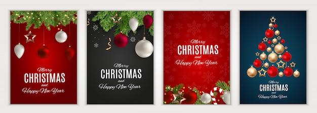 Zestaw plakatów wesołych świąt i szczęśliwego nowego roku. ilustracja