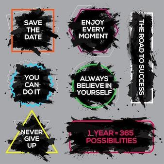 Zestaw plakatów z atramentami motywacyjnymi napis tekstowy z inspirującym powiedzeniem