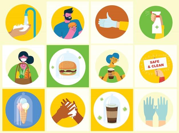 Zestaw plakatów z czystym umyciem rąk. posiłek chroniony przed wirusem. zestaw celów opieki zdrowotnej ilustracji. ilustracja w stylu płaski. koncepcja ochrony przed wirusem corona. opieka zdrowotna.
