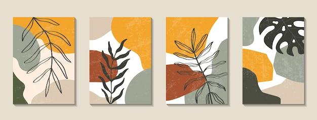Zestaw plakatów z elementami tropikalnych liści i abstrakcyjnych kształtów