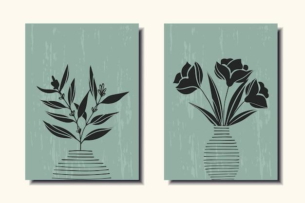 Zestaw plakatów z kwiatami w wazonie sztuka współczesna