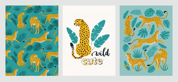 Zestaw plakatów z lampartami i liśćmi tropikalnymi.