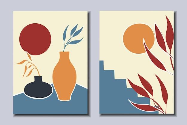Zestaw plakatów z martwymi naturami i roślinami ze sztuką współczesną