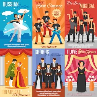 Zestaw plakatów z płaskim teatrem