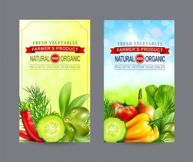 Zestaw plakatów z realistycznymi warzywami