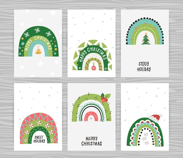 Zestaw plakatów z świątecznymi tęczami i napisami. idealny do sypialni dziecięcej, zaproszeń, plakatów i dekoracji ściennych