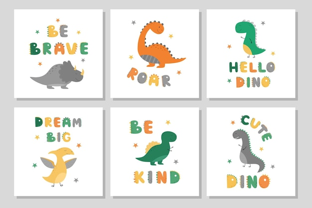 Zestaw plakatów z uroczymi dinozaurami